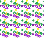 Mardi Gras Carnival seamless pattern with mask feathers.   endless background, texture, wallpaper. Vector illustration Royalty Free Stock Photo