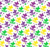 Mardi Gras Carnival seamless pattern with mask feathers. Endless background, texture, wallpaper. Vector illustration. royalty free stock images