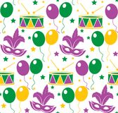 Mardi Gras Carnival seamless pattern with mask feathers. Endless background, texture, wallpaper. Vector illustration. royalty free stock photography
