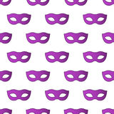 Mardi Gras Carnival seamless pattern with masks. Mardi Gras endless background, texture, wrapper. Vector illustration EPS10 Stock Photography