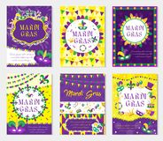 Mardi Gras carnival set poster, invitation, greeting card. ollection templates for your design with mask feathers. Festival, Holiday in New Orleans. Fat Stock Image