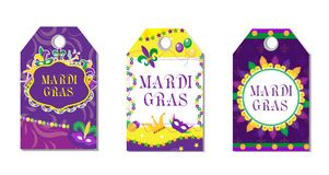 Mardi Gras Carnival Tags Set. Labels Collection With Feather Mask, Bunting, Beads. Holiday In The New Orleans. Fat Stock Photos
