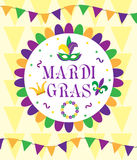 Mardi Gras Carnival, template greeting card, poster, flyer, frame for text. Vector illustration. Stock Images