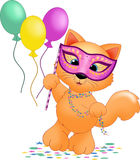 Mardi gras Cat. An illustration featuring a cat wearing a mask for mardi gras Stock Image