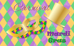 Mardi Gras celebration concept with golden mask and hat and lettering typography on a colorful background. Vector Royalty Free Stock Images