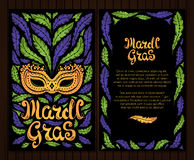Mardi Gras celebration poster with venetian mask and feathers. And hand written letters vector illustration