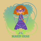 Mardi gras celebration. Vector girl in a mask with beads on Mardi gras celebration. Masquerade. Mask with feathers and gold earrings Stock Image