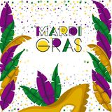 Mardi gras colorful background with confetti and feathers and carnival mask. Vector illustration Royalty Free Stock Photos