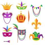 Mardi Gras Colorful Decorative Elements su bianco royalty illustrazione gratis