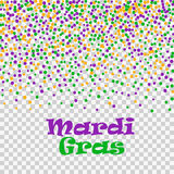Mardi Gras confetti dots  on transparent background. Vector illustration of colorful scattered dust. Stock Photos