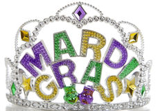 Mardi Gras Crown. A colorful Mardi Gras crown on a white background with copy space stock photo