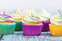 Mardi Gras cupcakes stock image