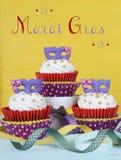 Mardi Gras cupcakes stock photography