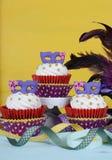Mardi Gras cupcakes stock images