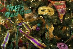 Mardi Gras. Decor colorfully embellished with masks, ornaments, beads, and ribbons Royalty Free Stock Image