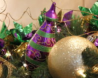 Mardi Gras. Decor colorfully embellished with ornaments, beads, and ribbons Royalty Free Stock Photography