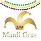 Mardi Gras Decoración festiva Decoración del acontecimiento del partido tipografía de las letras Tarjeta del día de fiesta Decora ilustración del vector