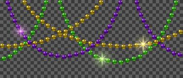 Mardi Gras decoration. With shiny colorful beads