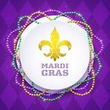 Mardi Gras dekorativt runt baner med färgrika traditionella pärlor, vektorillustration royaltyfri illustrationer