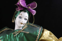 Mardi Gras Doll. Mardi Gras Porcelain Doll dressed up as a harlequin Stock Images