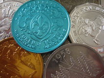 Mardi Gras Doubloons. Old Mardi Gras Doubloons from New Orleans (N'awlins stock photo