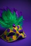 Mardi Gras eller karnevalmaskering på en purpurfärgad bakgrund Royaltyfri Bild