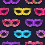 Mardi Gras endless pattern. Venetian painted Carnival Mask collection. Masquerade realistic colorful party decoration. Mardi Gras seamless pattern. Authentic royalty free illustration