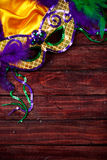 Mardi Gras: Fancy Feathered Mask Background Royalty Free Stock Images