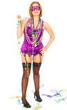 Mardi Gras Fans Carrying Beads On Her Shoulder Royalty Free Stock Photography