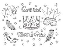 Mardi Gras. Fat Tuesday. Carnival. Collection icons vector. stock illustration