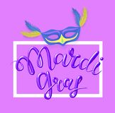 Mardi Gras, Fat Tuesday, vector lettering illustration in 3d style. Design template of poster or banner for party or. Mardi Gras, Fat Tuesday, vector lettering Royalty Free Stock Photography