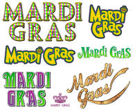 Mardi Gras Fat Tuesday Word Collection. Word art collection for New Orleans Louisiana Mardi Gras Carnival Fat Tuesday celebration Royalty Free Stock Image