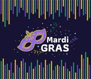 Mardi gras festival card with mask sign and mardi gras text between green yellow purple bead frame vector design Royalty Free Stock Image