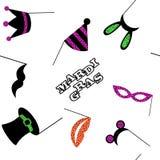 Mardi Gras festival colorful seamless pattern background vector illustration