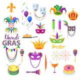 Mardi Gras Festival Vector Collection su bianco illustrazione di stock