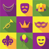 Mardi Gras flat design icon collection Stock Photos