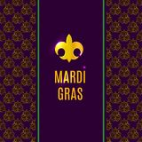 Mardi Gras fleur de lis gold logo with text. On vertical banner. Holiday poster or placard with outline luxury gold and dark purple pattern on background Royalty Free Stock Photos