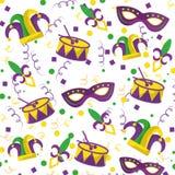 Mardi gras fleur de lis mask jester hat and drum confetti stock images