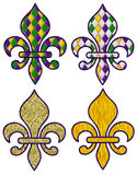 Mardi Gras Fleurs. A collection of four fleurs in Mardi Gras patterns and colors