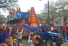 Mardi Gras Float Celebrating Christmas Eve Bonfires Fotos de archivo libres de regalías