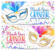 Mardi Gras flyer banner templates with carnival masks with feathers on serpentine and confetti background Royalty Free Stock Images