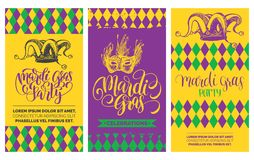 Mardi Gras flyers set. Vector hand lettering. Festive carnival background with jester hat, mask illustrations. Mardi Gras flyers set. Vector hand lettering for Royalty Free Stock Image