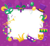 Mardi Gras frame template with space for text. Carnival poster, flyer, invitation. Mardi Gras frame template with space for text. Mardi Gras Carnival poster Stock Photos