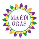 Mardi Gras frame template with space for text. Isolated on white background. Vector illustration. Royalty Free Stock Photography