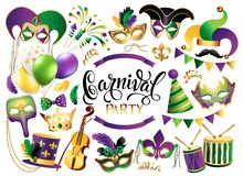 Mardi Gras French traditional symbols collection - carnival masks, party decorations. Vector illustration isolated on royalty free illustration