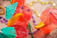 Mardi Gras: Fruity Hurricane Drink With Fun Garnish stock image