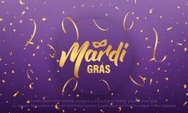 Mardi Gras Fundo com rotulação de Mardi Gras e confetes brilhantes do ouro Foto de Stock Royalty Free