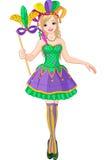 Mardi Gras girl. Illustration of beautiful Mardi Gras girl holding mask