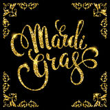 Mardi Gras. Glittering lettering design for Banners, Flyers, Pla Stock Images