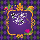 Mardi Gras Gold frame checkerboard background Stock Image